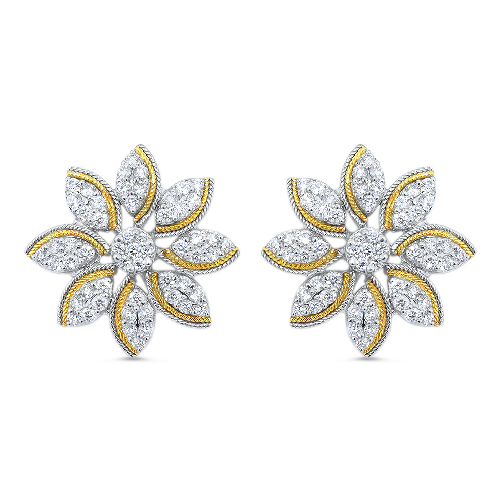 Golden Petal Diamond Earrings