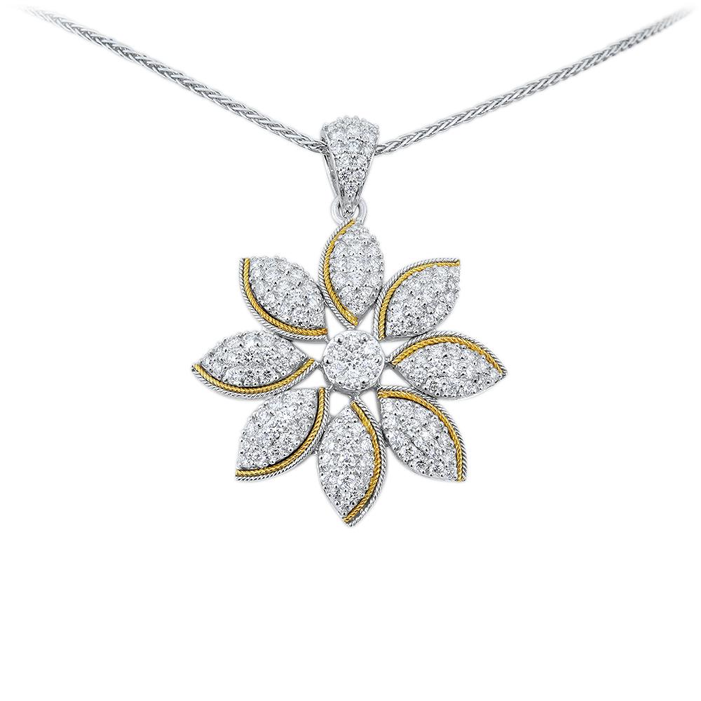Golden Petal Diamond Necklace