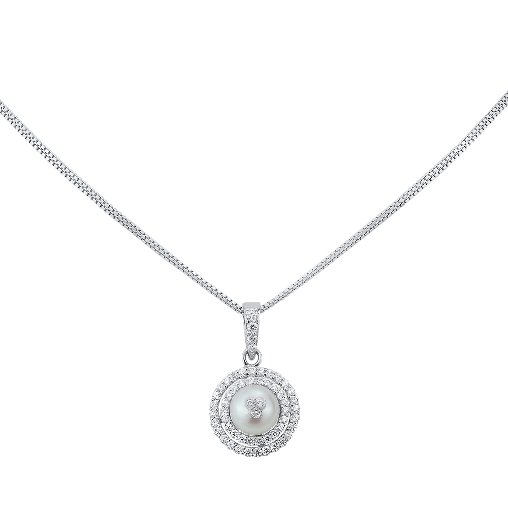 Pearl Halo Diamond Necklace