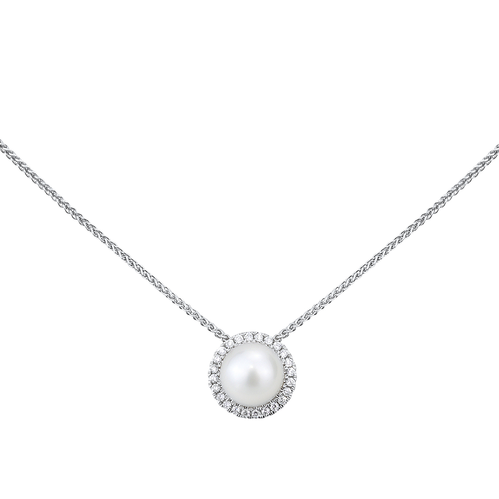 Single Halo Diamond Necklace
